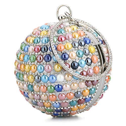 Woman Round Ball Clutch Handbag Rhinestone Ring Handle Purse Evening Bag (White) (Beaded Handle Bag)