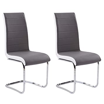 Terrific Gizza Dining Chairs Modern Artificial Leather Grey White Metal Chrome Legs Set Of 2 Bralicious Painted Fabric Chair Ideas Braliciousco