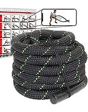 POWRX Battle Rope 9/12/15M - Diámetro Ø 38 mm - Ideal para »Functional Fitness« - Agarre Antideslizante + PDF Workout (Negro/Verde)