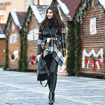 Chicwish Women's Turn Down Shawl Collar Earth Tone Check/Black White Grid/Black/Plum/Cream/Pink Wool Blend Coat: Clothing
