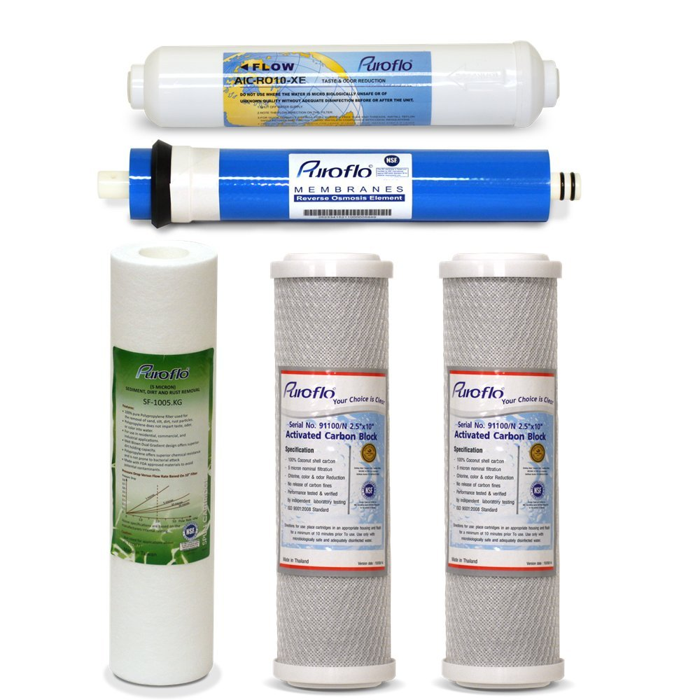 5pcs RO Water Filter Replacement Set, 5 Stage 1 Year Reverse Osmosis Purifier, Under Sink Drinking System Filtration Kit by PUROFLO