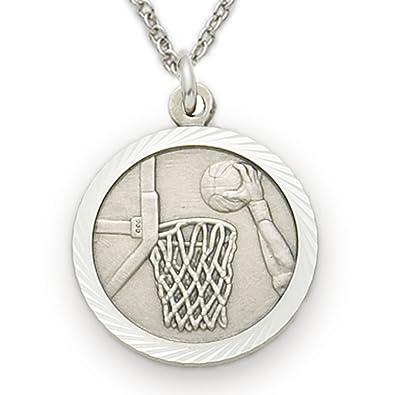 TrueFaithJewelry Plata de Ley Medalla De Baloncesto Deportes con ...