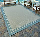 Gertmenian 21563 Nautical Tropical Carpet Outdoor Patio Rug, Border, Aqua Blue