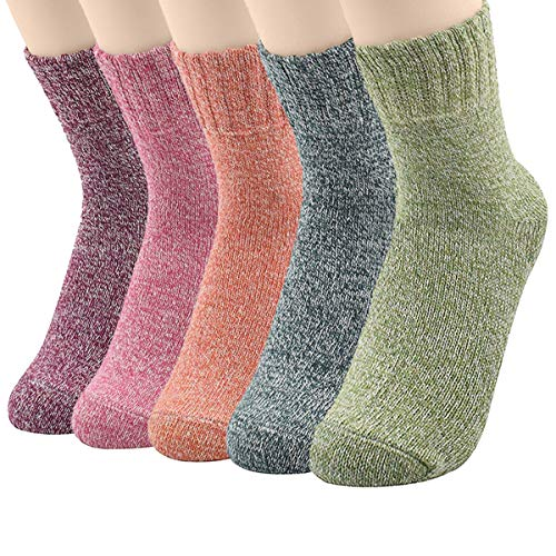 Womens Vintage Cold Weather Winter Warm Soft Comfort Wool Crew Socks 5 Pack Athletic Sports Cashmere Retro Sock 5 Pack Solid