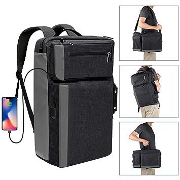 Mochila para Ordenador Portátil 17,3 Pulgadas con Puerto de Carga USB Mochila de Negocios Multifuncional Bolsa Bandolera Mochila Hombre para Viaje Excursión ...