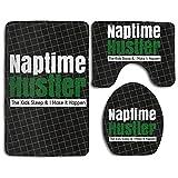 Naptime Hustlers Fashion Bath Mat Set Bathroom Accessories Bath Rug Sets 3 Piece
