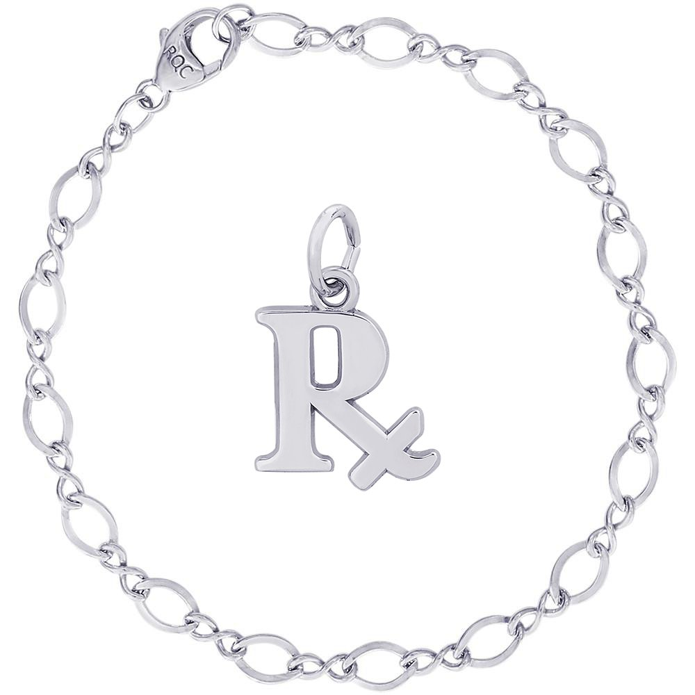 Rembrandt Charms Sterling Silver Pharmacy Prescription Charm on a Figure Eight Link Bracelet, 7''