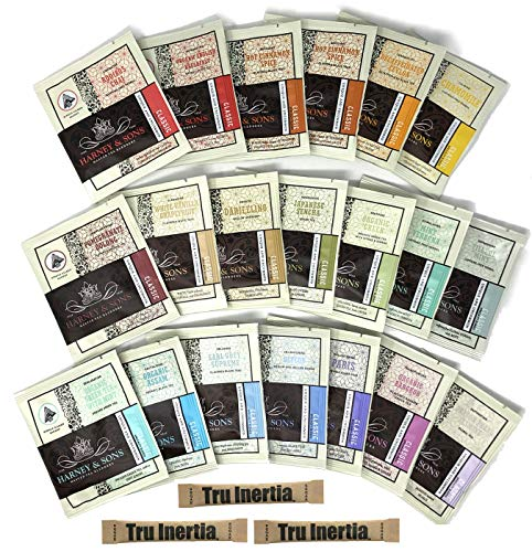 (Harney & Sons Tea Gift Box Assorted Classic Tea Sachet Sampler 20 Count (19 Different Flavors) with Tru Inertia Sugar - Great for Birthday, Hostess and Co-worker Gifts)