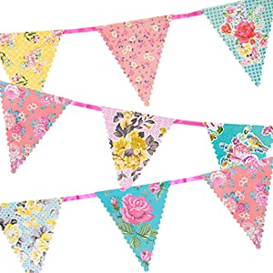 Talking Tables TS4-BUNTING 13ft Floral Paper Bunting Garland Hanging Decorations With Triangle Pennants-For Afternoon Tea Party, Baby, Bridal Shower, Birthday, Pastel colors