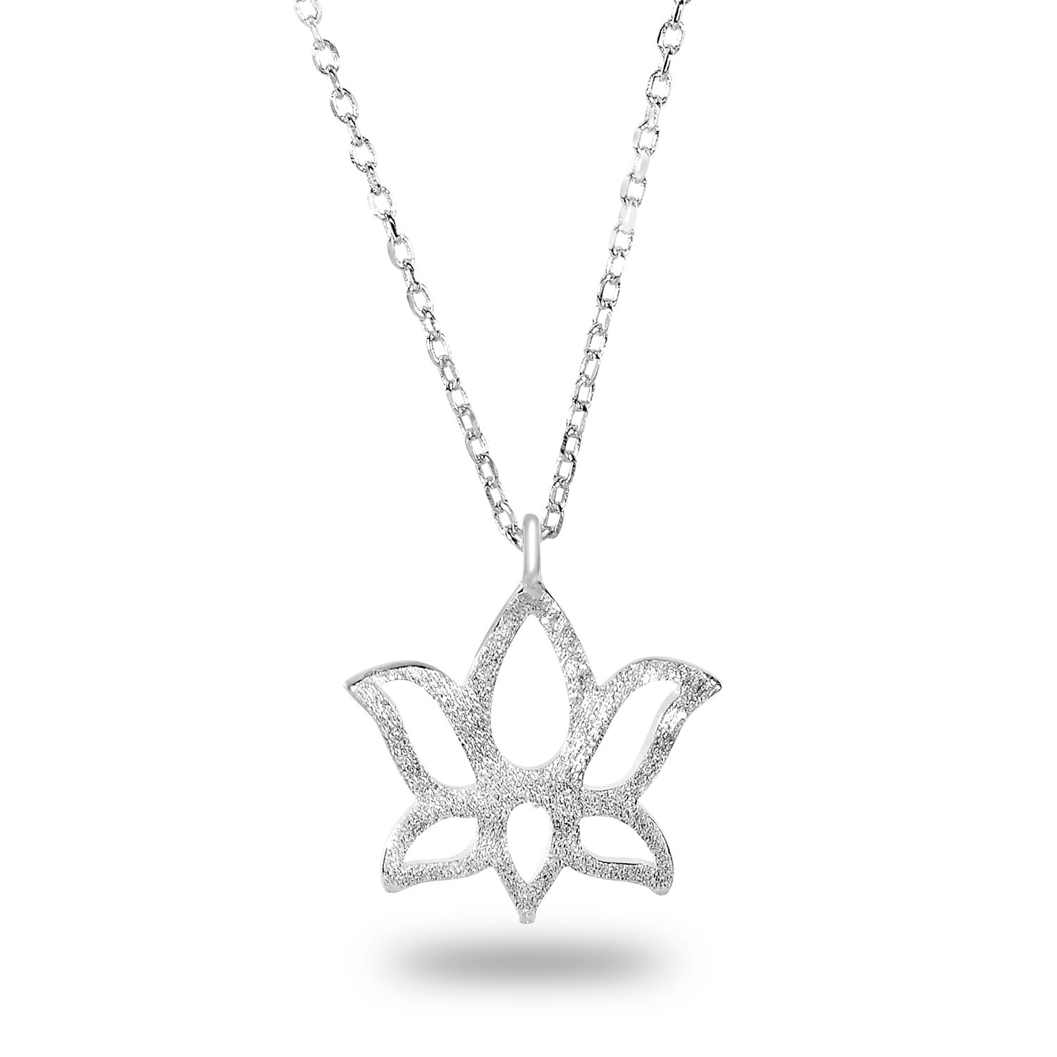 Rhodium-Plated Sterling Silver Plain Matte Finish Hollow Cut-out Lotus Pendant Necklace, 18\