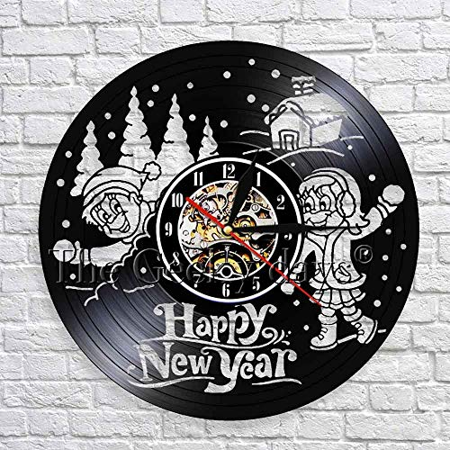 GZGJ Happy New Year Greeting Vinyl Record 3D Wall Clock Modern Design Snowball Flight Snow Covered Landscape Wall Art Decor ()