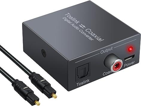 Toslink Coaxial a Óptico SPDIF Convertidor Audio Digital Soporte DTS / Dolby-AC3 192 KHz Divisor de Audio Bidireccional con Cable Óptico para TV PS4 Receptor de Satélite Blu-ray HD TV: Amazon.es: Electrónica