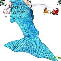 Mermaid Tail Blanket Crochet and Mermaid Blanket for adult, Super Soft All Seasons Sleeping Blankets