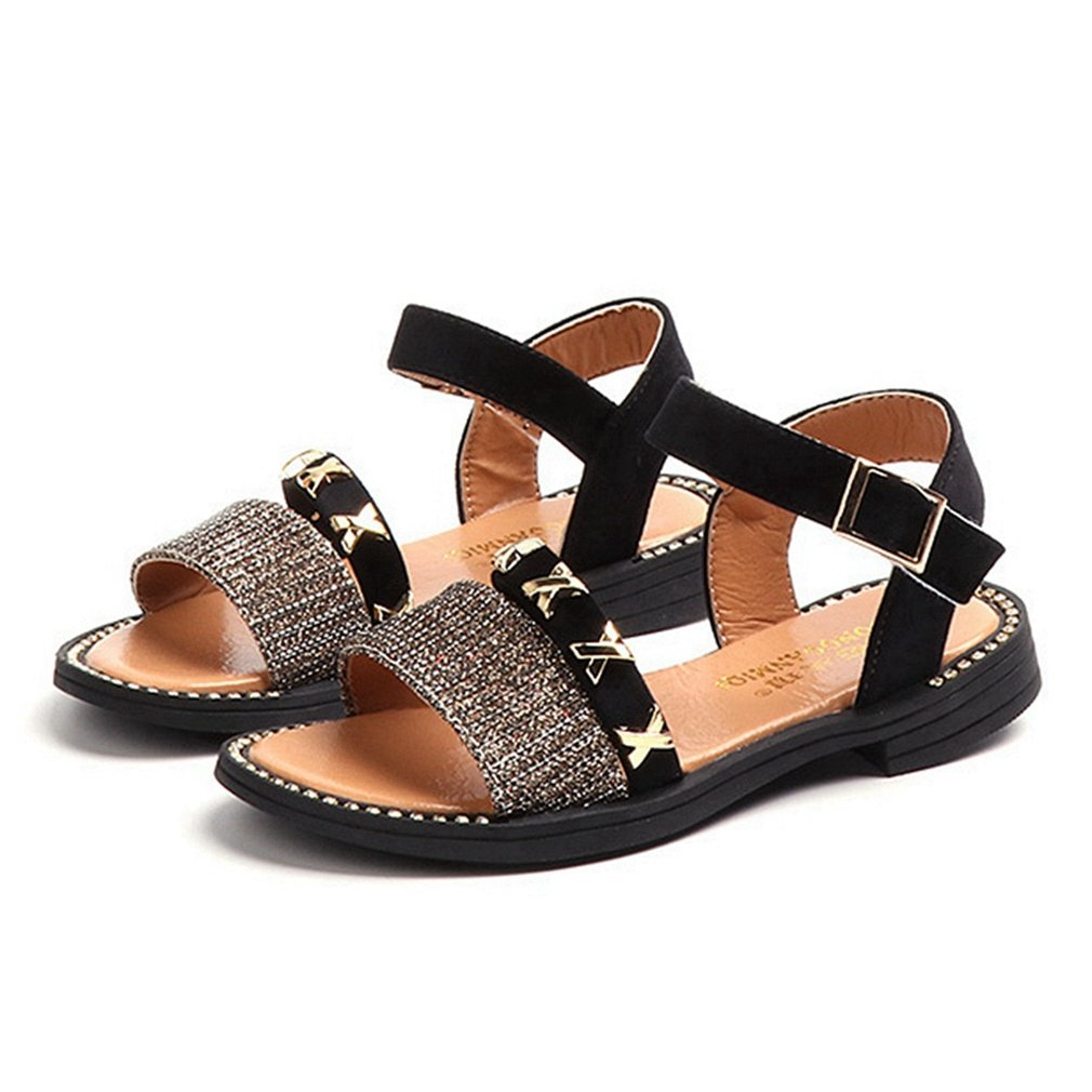 CYBLING Girl's Flat Sandals Soft Leather Casual Breathable Outdoor Summer Shoes (Toddler/Little Kid)