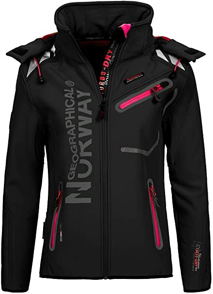 Geographical Norway Damen Softshell Outdoor Jacke Romantic Turbo Dry abnehmbare Kapuze