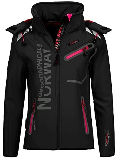 Geographical Norway Mujer Chaqueta Outdoor Softshell Romantic Turbo de Dry Capucha Desmontable, otoño-Invierno 16, Mujer, Color Black/Flashy Pink, ...