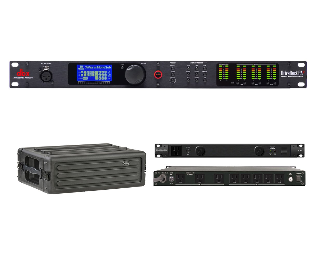 DBX DriveRack PA2 Speaker Management Processor + SKB 1SKB-R3S + Furman PL-8 C