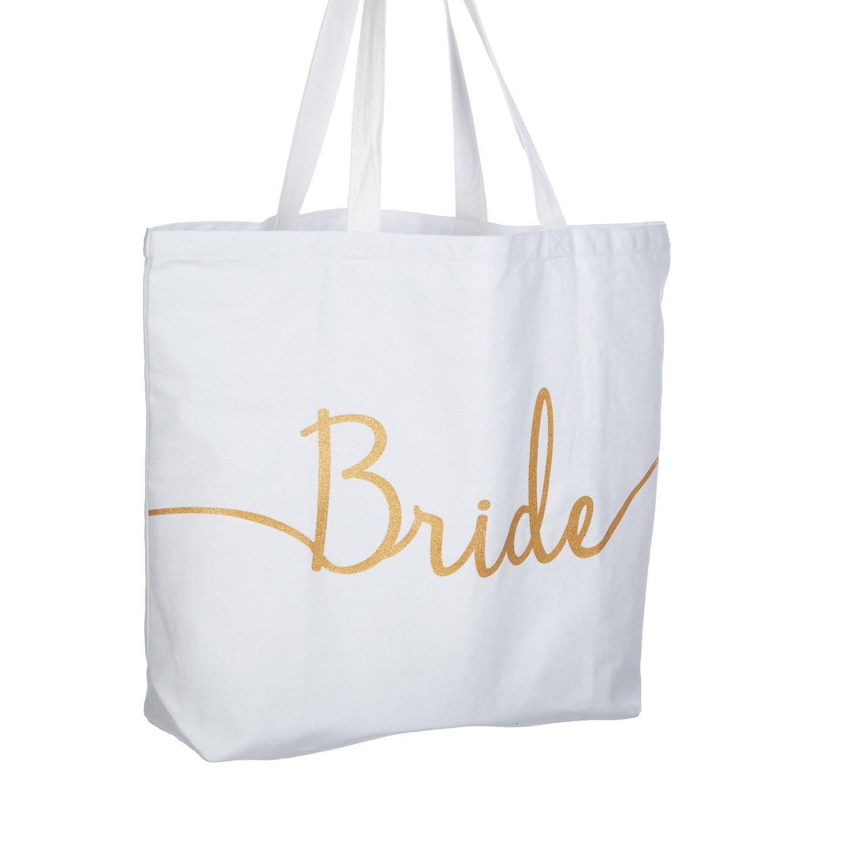 4148b141c Amazon.com: ElegantPark Bride Jumbo Tote Bag Wedding Bridal Shower Gifts  Canvas 100% Cotton Interior Pocket White with Gold Glitter: Kitchen & Dining