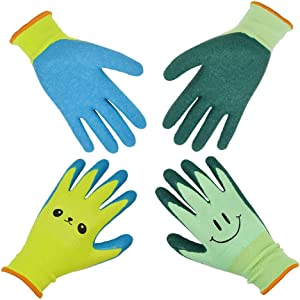GLOSAV Kids Gardening Gloves for Ages 2-12 Toddlers, Youth, Girls, Boys, Children Garden Gloves for Yard Work (Size 4 for 7, 8 Year Old)