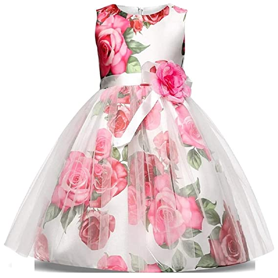 a905c386c914 THE LONDON STORE Summer Children Dresses for Girls Kids Party Wear Princess Dress  Girl 4 6 7 8 10 Years Birthday Events Prom Baby Flower Dress  Amazon.in  ...