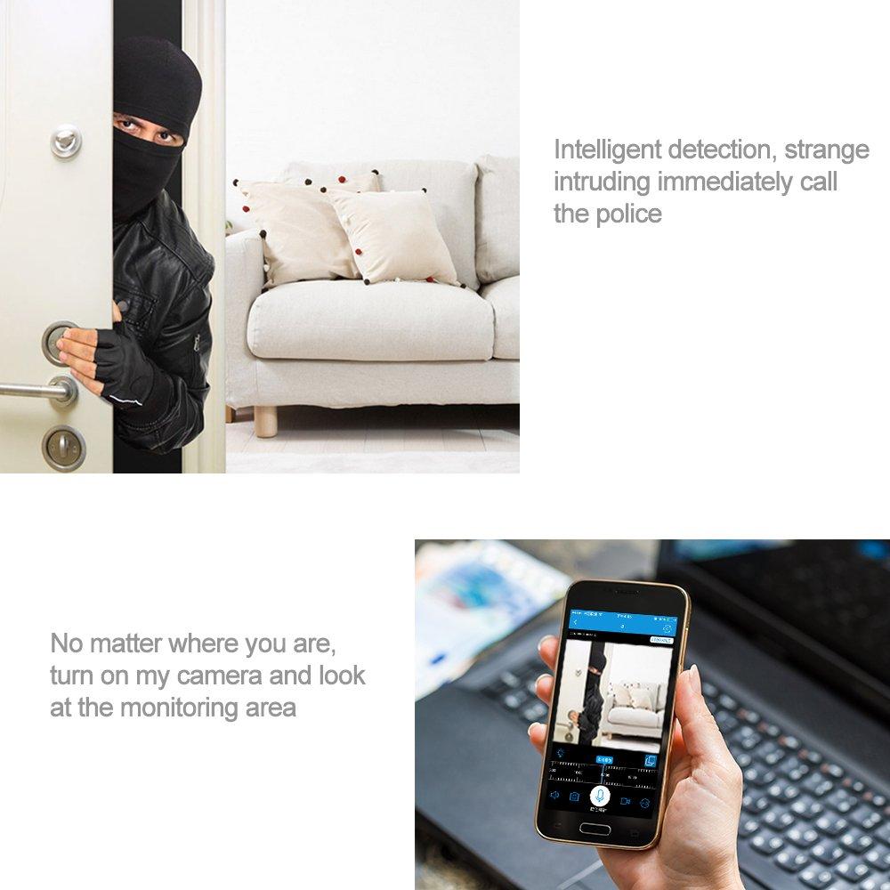 Espía Cámaras, handingsm 360 ° gran angular ojo de pez bombilla LED cámara oculta 1080P HD IP WiFi Seguridad para el hogar cámaras de cúpula de cámara de ...