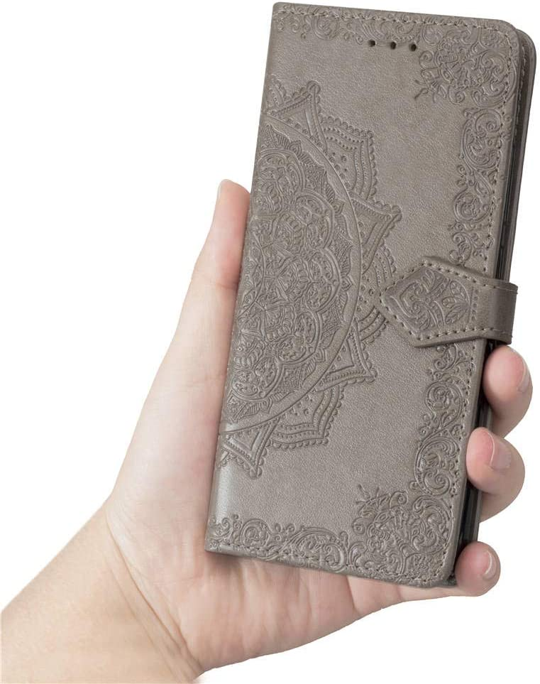COTDINFORCA iPhone Xs Wallet Case SD Mandala Blue Slim Premium PU Flip Cover Mandala Embossed Full Body Protection with Card Holder Magnetic Closure for Apple iPhone X//iPhone Xs 5.8