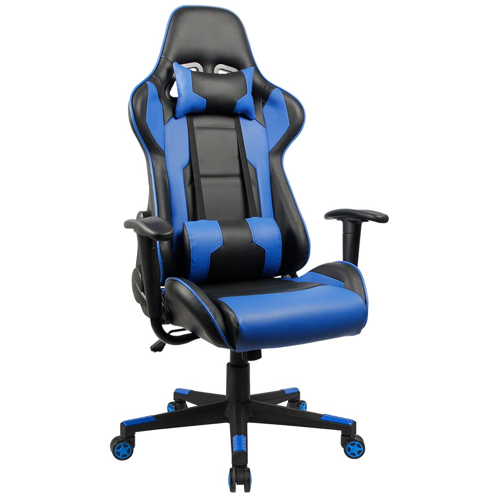 Homall Executive Swivel Faux Leather Gaming Chair, Racing Style High-Back Office Chair with Lumbar Support and Headrest (Blue) by Homall