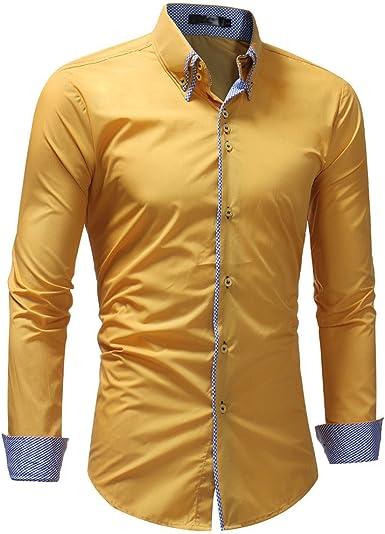Camisa de Manga Larga para Hombre, Color sólido, Informal ...