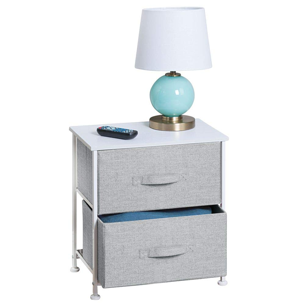 mDesign End Table/Night Stand Storage Tower - Sturdy Steel Frame, Wood Top, Easy Pull Fabric Bins - Organizer Unit for Bedroom, Hallway, Entryway, Closets - Textured Print - 2 Drawers - Gray/White