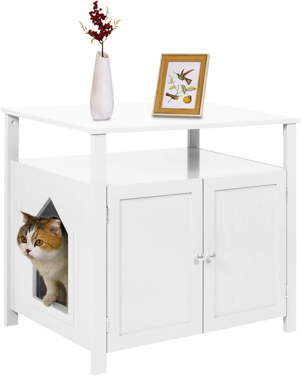 YGBH Cat Litter Box Enclosure,Hidden Litter Box, Furniture Large Box House with Table,Spacious Storage, Easy Assembly Cat Litter Funiture