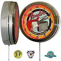 Fender Guitar & Amp 15 Neon Light Wall Clock Garage Band Music Studio Tin Metal Sign Red
