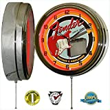 Fender Guitar & Amp 15'' Neon Light Wall Clock Garage Band Music Studio Tin Metal Sign Red