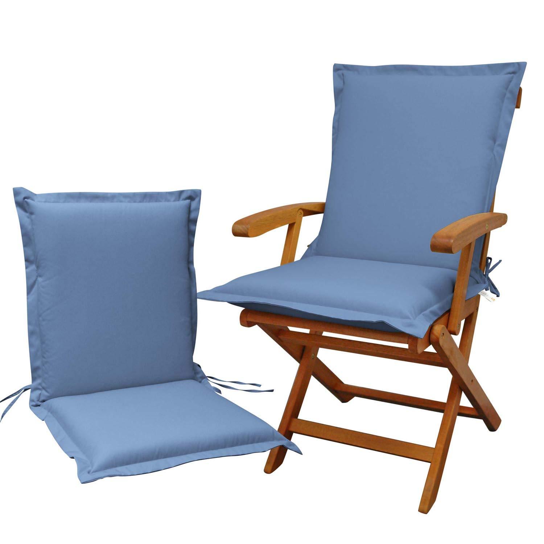 Indoba 2 x Sitzauflage Niederlehner Serie Premium Polsterauflagen Blau