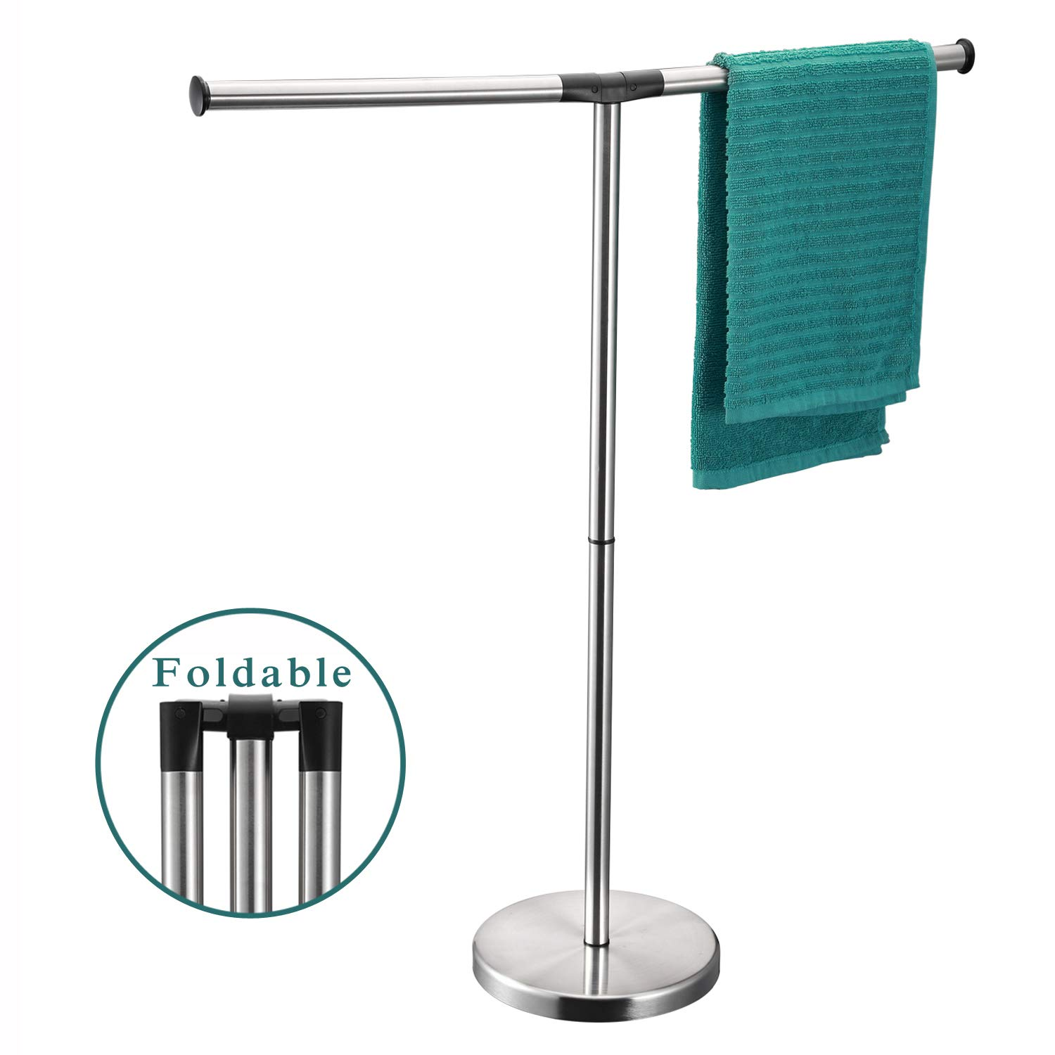 ALHAKIN Towel Rack Stand, 32 Inch Floor Free Standing T Style Stainless Steel 2 Arms Bathroom Towel Holder by ALHAKIN