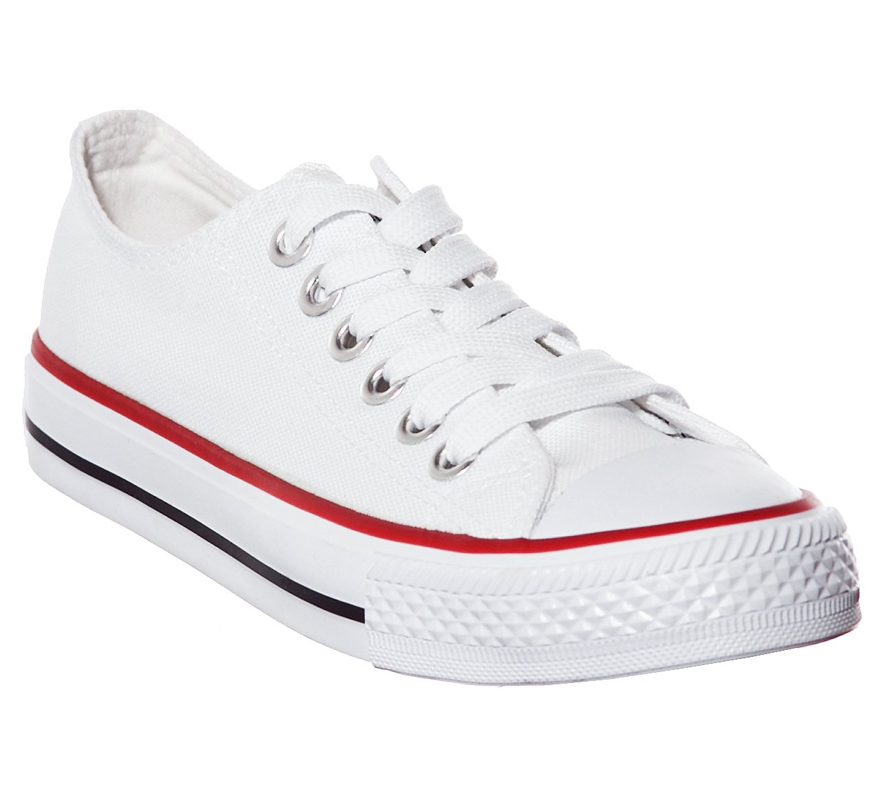New Style!! Canvas Women Sneakers (7, White/redTWR) [Apparel]