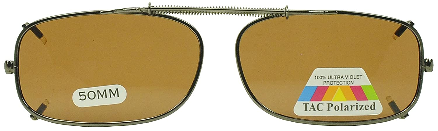 2f40b6c7d2 Amazon.com  50mm Easyclip Spring Metal Clip On Polarized Sunglasses for Reading  Eyeglasses (Brown