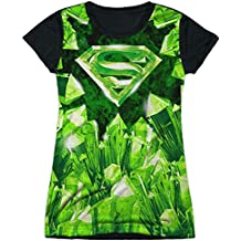 Superman DC Superhero Kryptonite S Shield Logo Juniors Black Back T-Shirt Tee