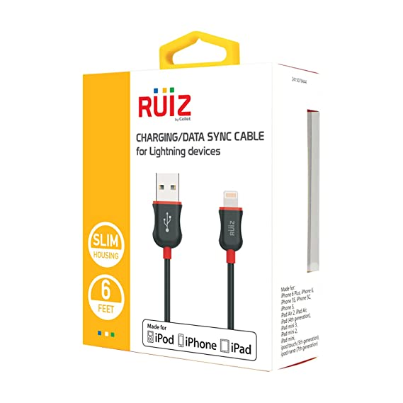Amazon.com: RUIZ by Cellet Apple MFI Certified 6ft. Lightning 8 Pin Charging/Data Sync Cable for iPad, iPhone, iPod - Red: Cell Phones & Accessories