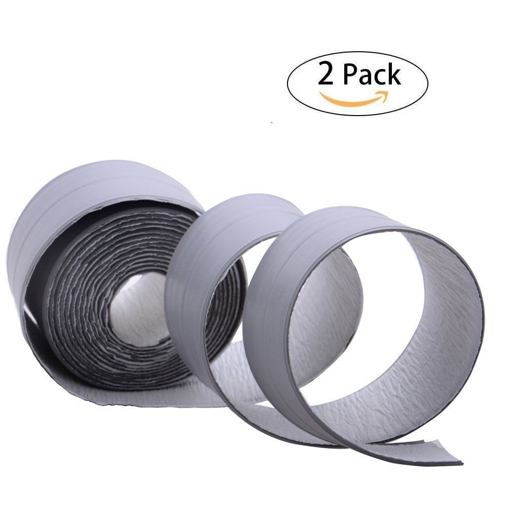 2 Pack Peel and Stick Caulk Strip Tub Sealant, PE Ultra Strong Self Adhesive Caulking Tape Waterproof Anti-Mildew for Kitchen Bathroom Tub Shower Floor Corner Wall Tile Sealer (Gray, 38mm x 3.35m) by LOOBANI