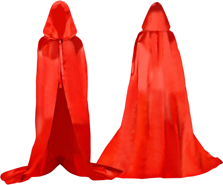 Proumhang Larga Capa Roja con Capucha Medieval Vampiro Traje de Bruja Mujer Halloween Disfraz Carnaval Navidad Adulto