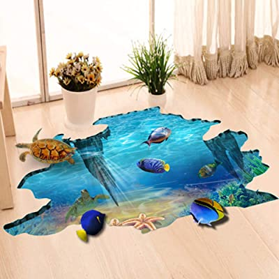 EUGNN 3D Floor Stickers,Underwater World Wall Decals Removable PVC Magic 3D Ocean Wall Stickers for Under The Sea Theme Decor Bathroom Floor Sticker Nursery Bedroom Decor: Home & Kitchen