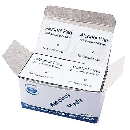 TiooDre Portable 100pcs Almohadillas de alcohol Esterilización hisopos Toallitas para la desinfección Uso al aire libre
