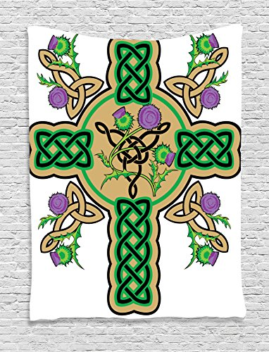 Ambesonne Celtic Decor Collection, Celtic Knot Design on Christian Cross Icon Wreath Flowers Retro Floral Welsh Pattern, Bedroom Living Room Dorm Wall Hanging Tapestry, 60 X 80 Inches, Mustard Green - Welsh Outdoor Hanging