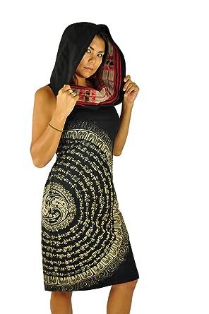 3e3554734d8 virblatt Robe imprimé Ethnique Robe Mandala Robe à Capuche pour l été avec  Mandala Peints