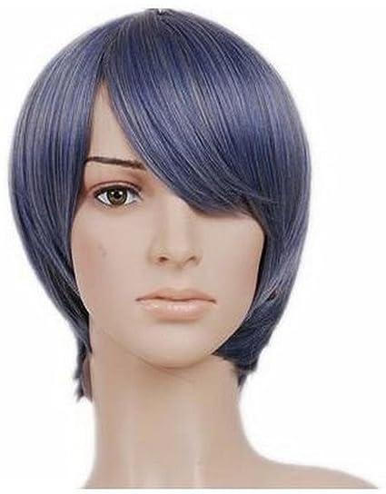 Kurz Blau Schwarz Anime Cosplay Perücke Haare Amazoncouk