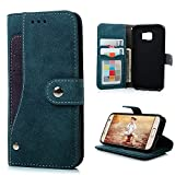 Image of S7 Case,Samsung Galaxy S7 Case(Non Edge) - Badalink Fancy Wallet Flip Folio Premium Suede Leather Extra Card Holder Design Soft TPU Inner Cover with Snap Fastener & Card Holders & Photo Window - Blue