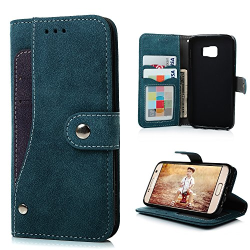 Badalink S7 Case, Galaxy S7 Case(Non Edge) Fancy Wallet Flip Folio Premium Suede Leather Extra Card Holder Design Soft TPU Inner Cover with Snap Fastener & Card Holders & Photo Window - Blue