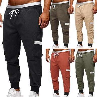 Pantalones Hombre Trabajo Multi-Bolsillo Mono Verano Tallas ...