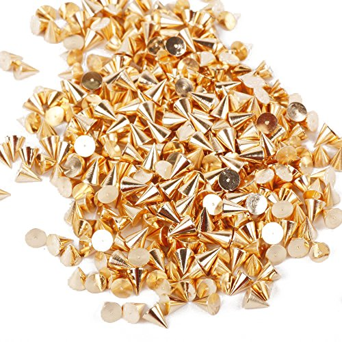 TOOGOO(R) Nail Art Decoration 100pcs 3*3mm Cone Metalic Golden Color Spike Studs Nail Art Tiny Stick