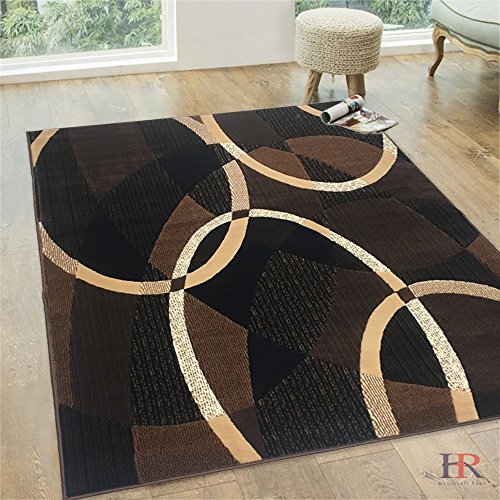 Gold Oval Design (Chocolate/Beige/Gold/Abstract Contemporary Modern Design Oval and Circle Pattern Area Rug)